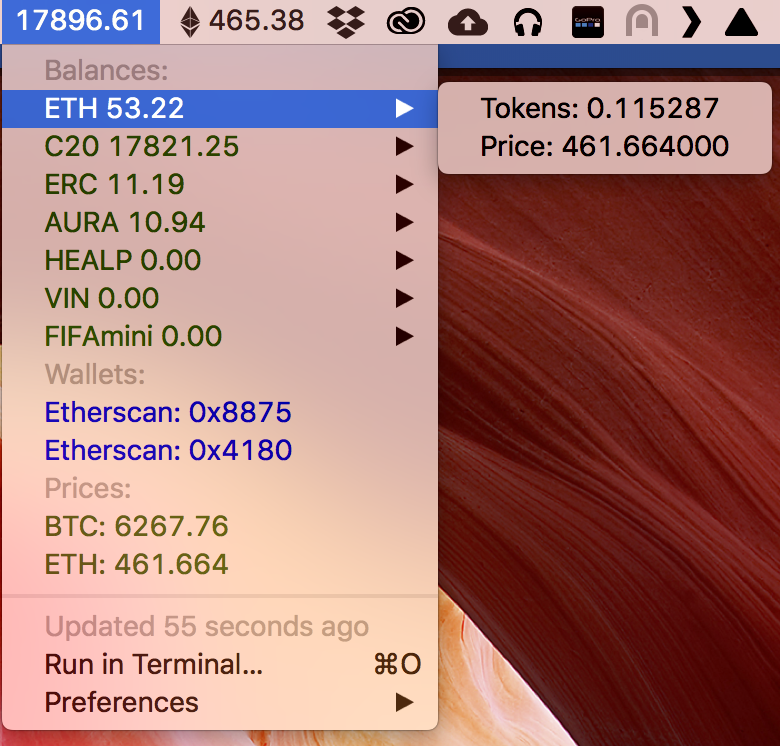 Image preview of Etherum Wallet (and token) Balances plugin.