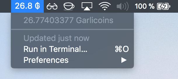 Image preview of Garlicoin Balance plugin.