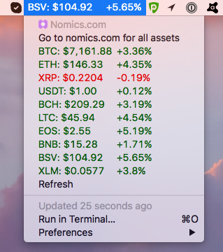 Image preview of Nomics.com Cryptocurrency Tickers plugin.