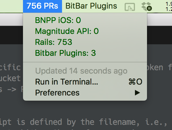 Image preview of PR Counts for Github and Bitbucket plugin.