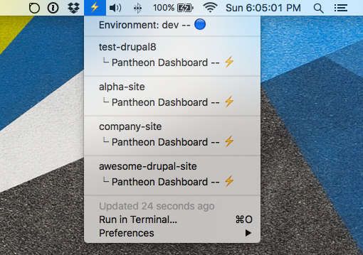 Image preview of Pantheon - List Sites plugin.