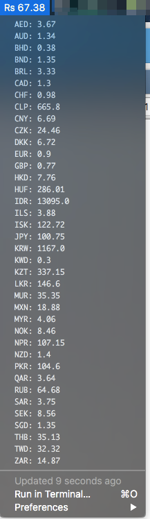 Image preview of Currency Rates plugin.