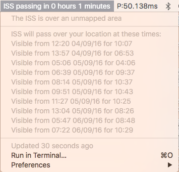 Image preview of ISS Pass Finder plugin.