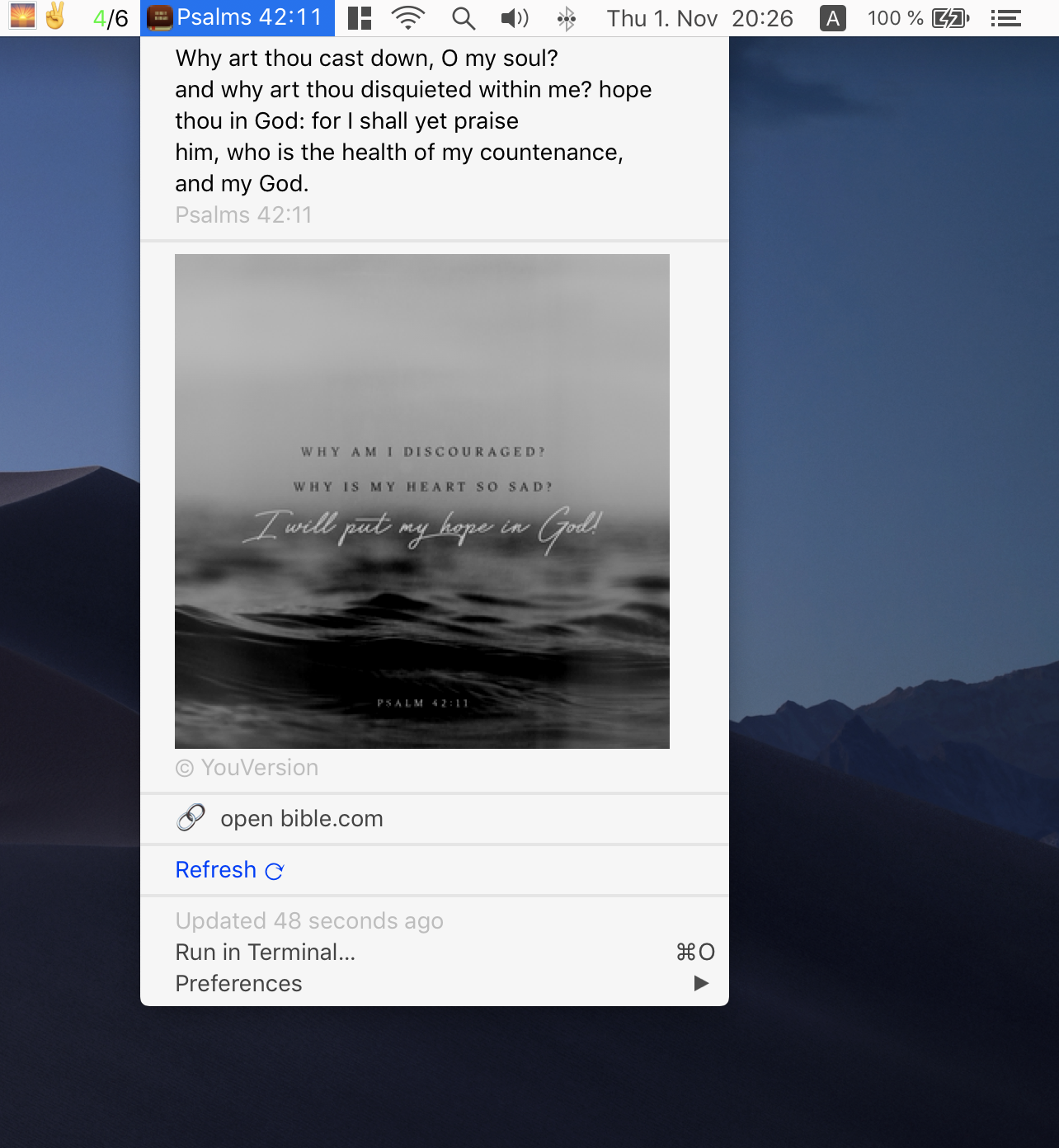 Image preview of Verse of the day plugin.