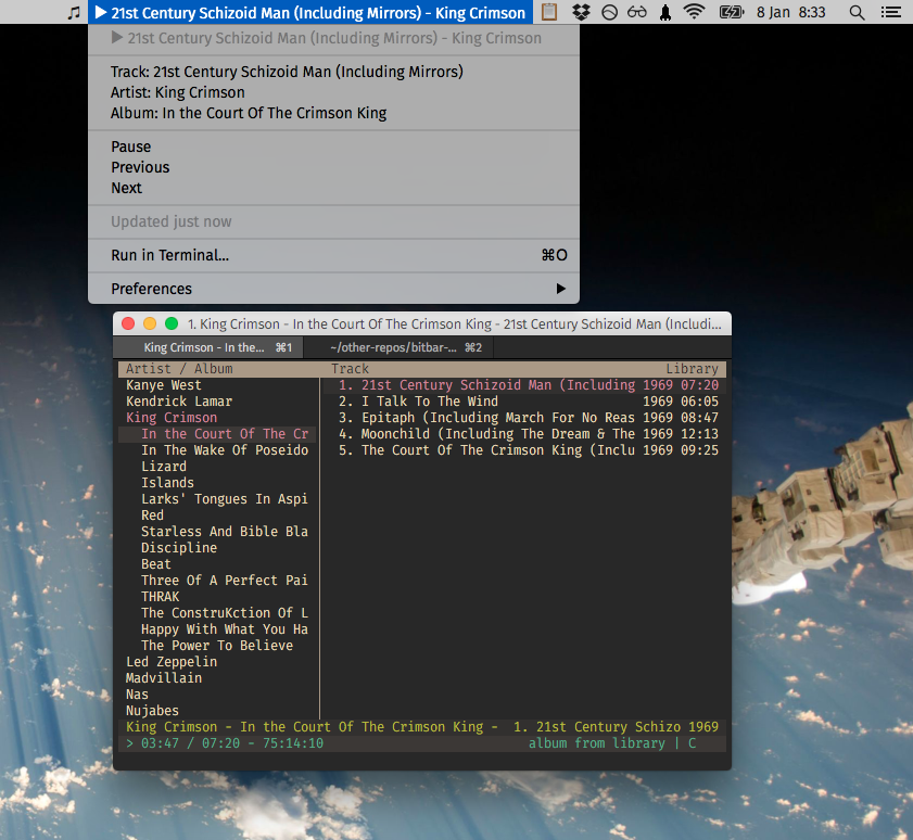 Image preview of Cmus Now Playing plugin.