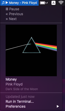 Image preview of iTunes Now Playing plugin.