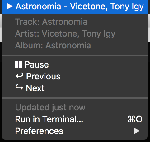Image preview of Spotify Now Playing (via spotctl) plugin.