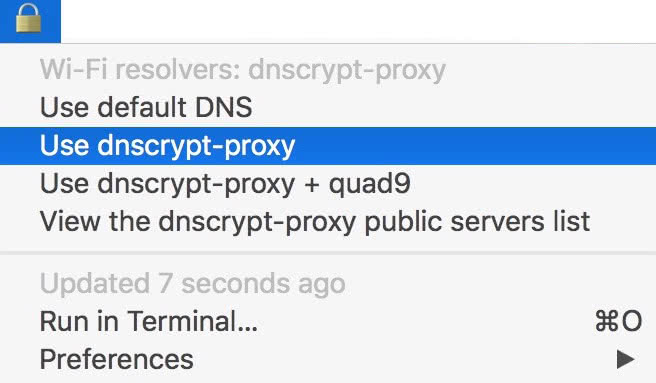 Image preview of dnscrypt-proxy switcher plugin.