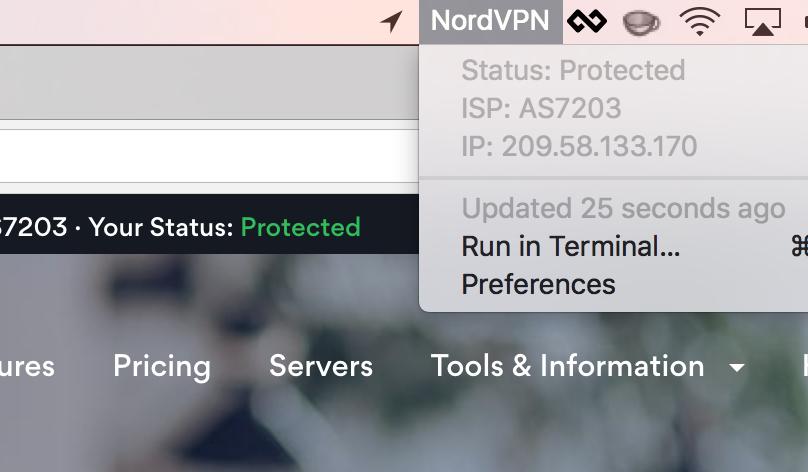 Image preview of NordVPN Status plugin.