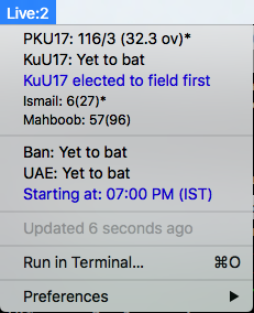 Image preview of Live Cricket Scores plugin.