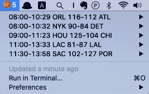 Image preview of Live NBA Game Stat plugin.