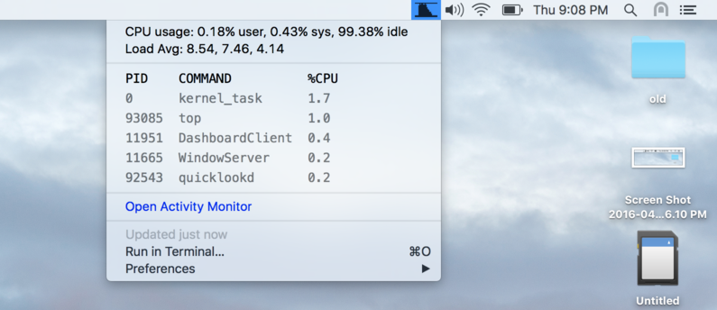 Image preview of CPU Usage Graph plugin.
