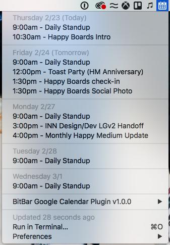 Image preview of Google Calendar plugin.