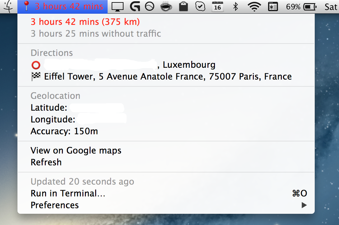 Image preview of Travel time plugin.