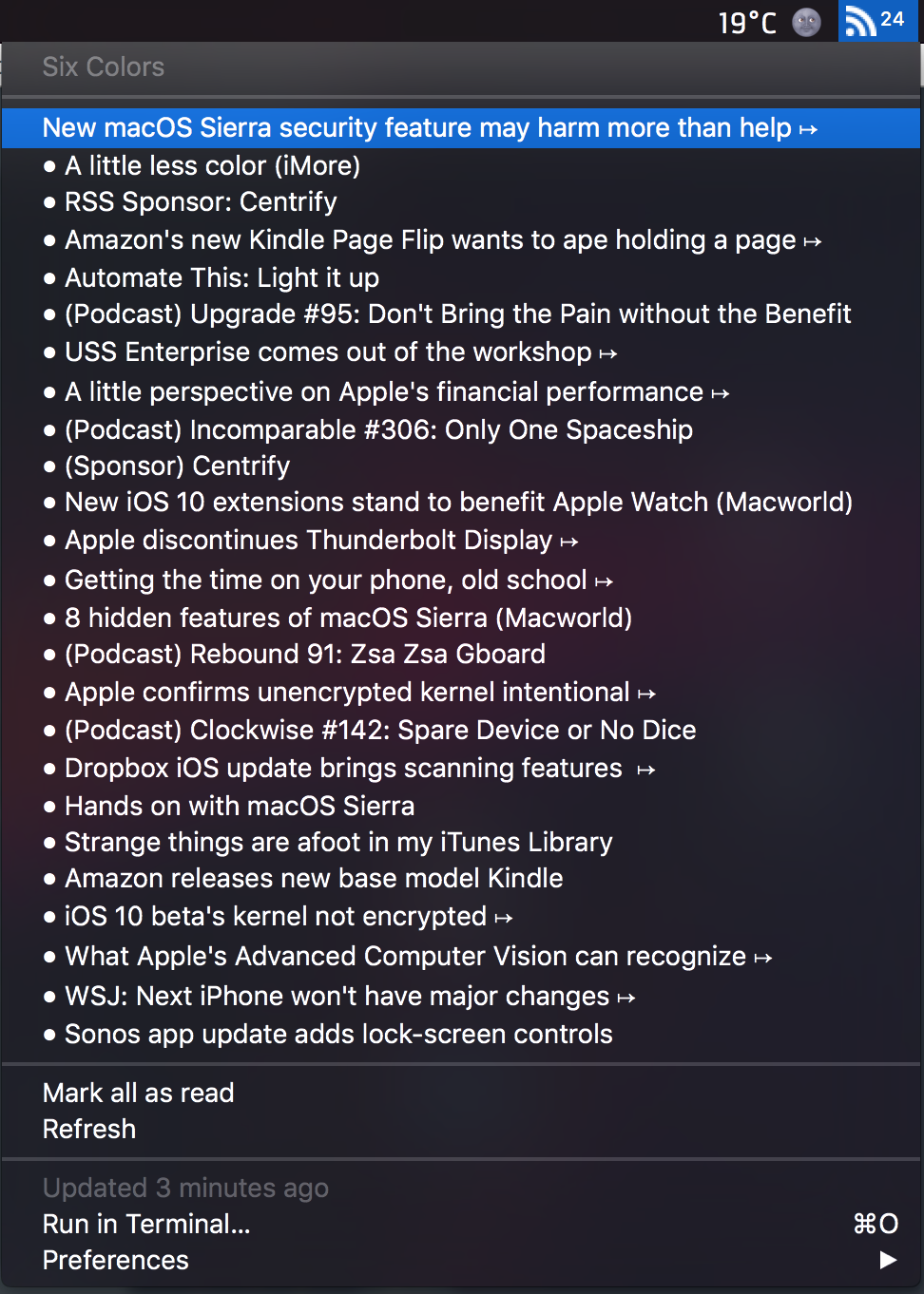 Image preview of Simple RSS reader plugin.