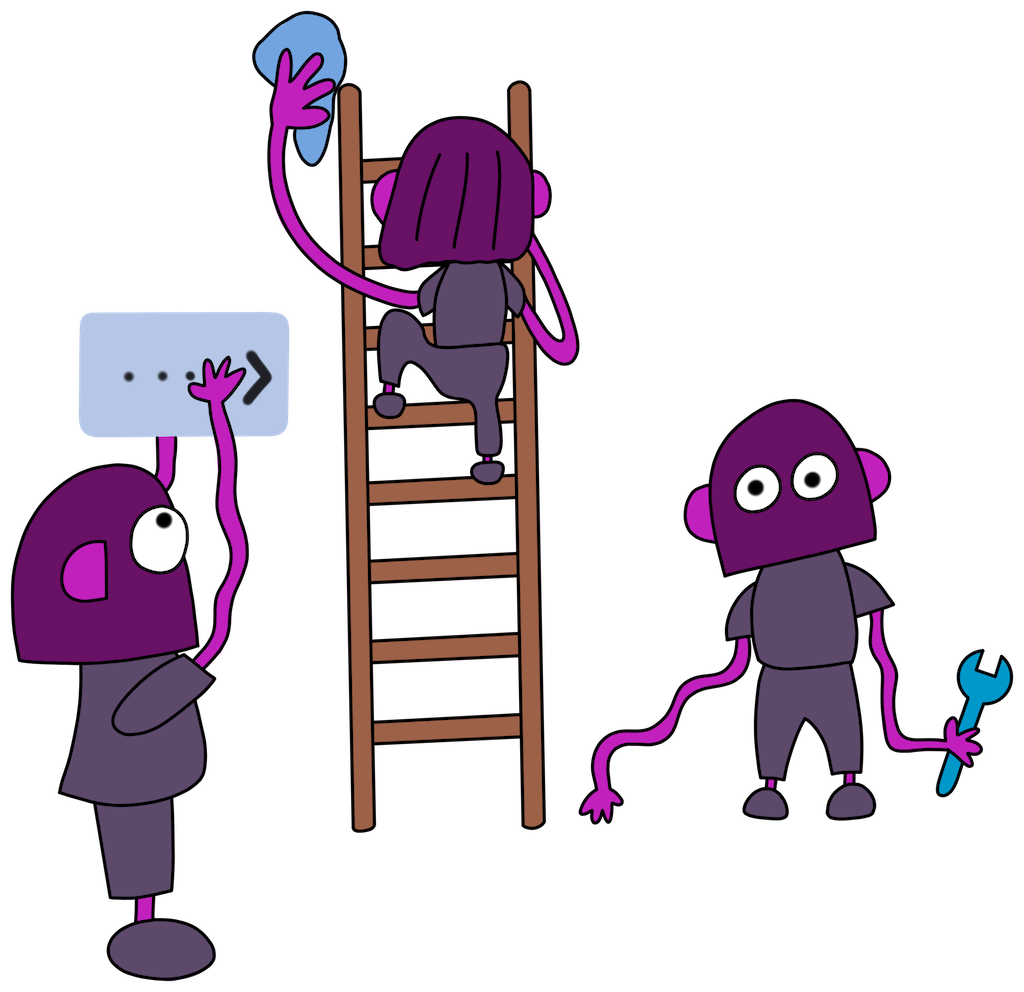 Hand drawing of robo monkeys working on the menu bar. Drawn by David Hernandez.